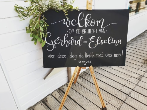 Signage by Mooi met letters seen at Private Residence, Koudekerke - Wedding chalkboard