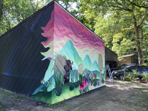 Murals by Ali Hval seen at Private Residence, Solon - Across Iowa and Wyoming