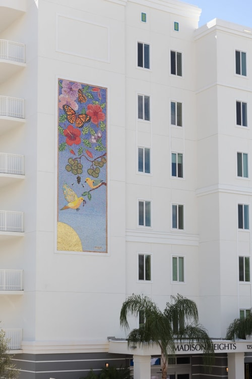 Public Mosaics by Madison Heights Affordable Senior Residences, Tampa , Florida- Glass and Ceramic Mosaic 10'x30' seen at 1250 N Marion St, Tampa - Madison Heights