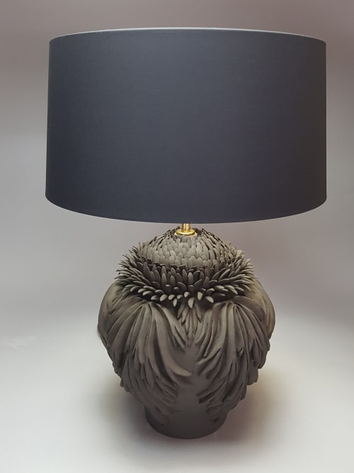 Lamps by Linda Southwell Ceramics seen at Private Residence - Acanthus leaf table lamp