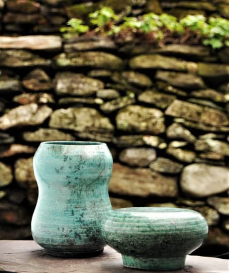 Vases & Vessels by Robin Badger & Robert Chartier seen at Private Residence, West Bolton, Quebec - Crackled green Raku pottery cremation urn for ashes