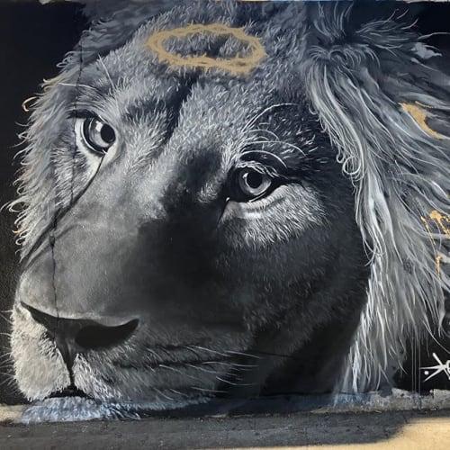 Street Murals by Konestilo seen at Huelva, Huelva - Redemption Lion
