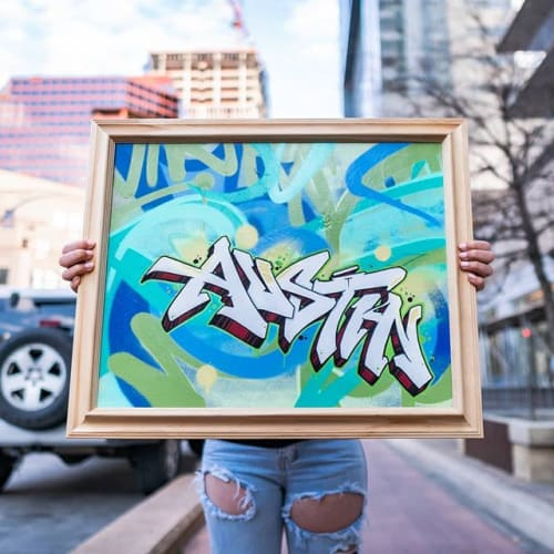 Paintings by Snuk One seen at Private Residence, Austin - Austin TX - Custom graffiti canvas, framed