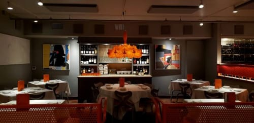 Paintings by Russell Jacques seen at Trio Restaurant, Palm Springs - Paintings