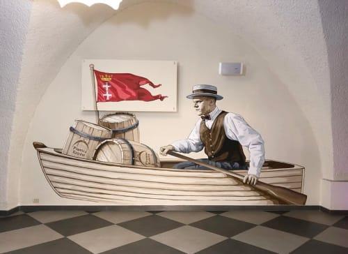 Murals by Marek Looney Rybowski seen at Piwnica Rajców Browar Restauracja, Gdańsk - Mural (sailing alone)