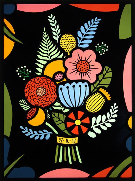 Art & Wall Decor by Flora Jamieson Stained Glass seen at Private Residence - Wild Bridal Bouquet stained glass panel.