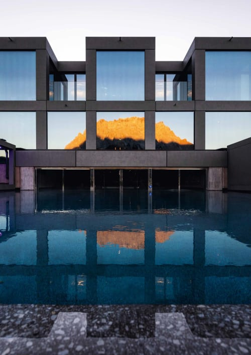 Architecture by noa* network of architecture seen at Hotel MOHR Life Resort - Wellness- & Lifestyle Hotel, Lermoos - Mohr Life: the theatrical spa