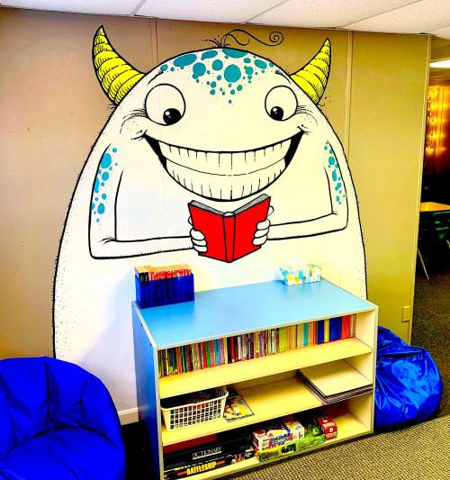 Murals by Cody Schibi seen at Smith Academy, Austin - The Friendly Reader
