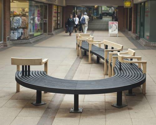 Benches & Ottomans by Simon Thomas Pirie seen at Tudor Arcade, Dorchester - Tudor Arcade Public Seating