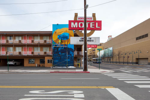 "Murals by Erik Burke seen at Horse Shoe Motel, Reno - ""Walk Before Ya Run"""