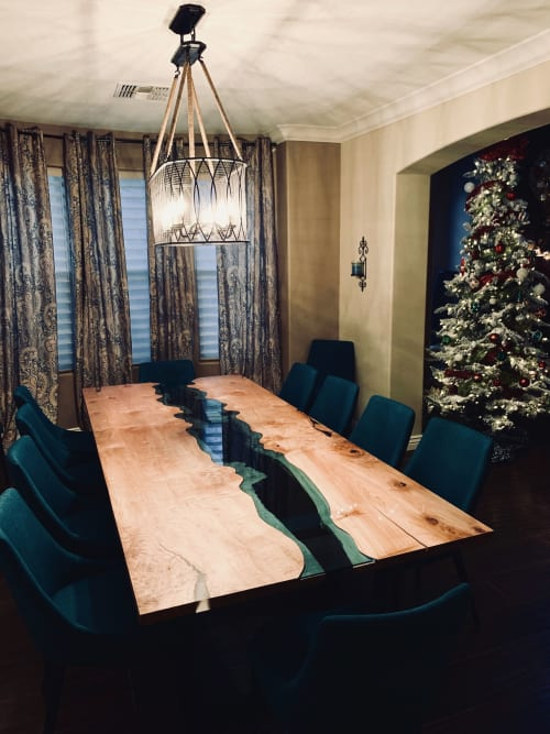 Tables by Citizen Wood Company LLC seen at Private Residence, Peoria - Azuria River Table