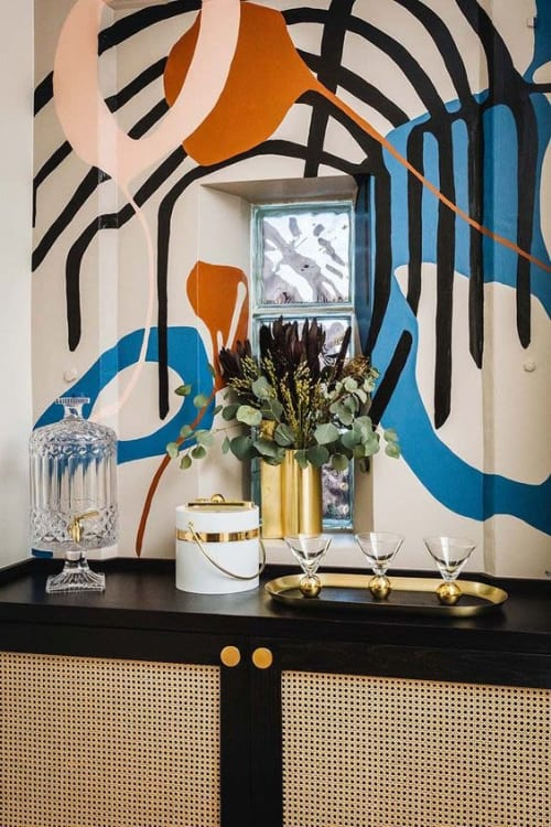 Murals by Kristi Head at Gold-Diggers Hotel, Los Angeles - Entryway Mural