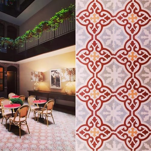 Tiles by Amethyst Artisan seen at The Broome Hotel, New York - Medallion Burgundy Cement Tiles