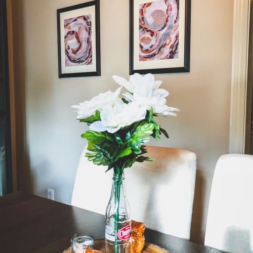 """Paintings by Laura Fedorowicz seen at Private Residence, Burlington - """"Luxury Whirlwind"""" and """"Gold Baby Gold"""" Painting"""