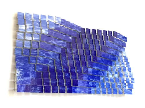 """Coast 2 Coast"" Glass and Metal Wall Art Sculpture | Sculptures by Karo Studios"