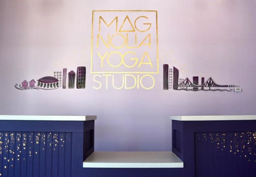 Murals by Monica Rose Kelly seen at Magnolia Yoga Studio, New Orleans - Front Desk Mural