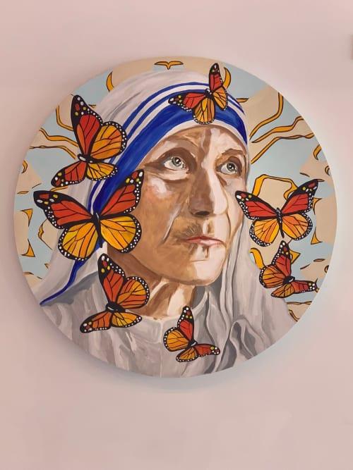 Paintings by Ashley Longshore seen at Diane von Furstenberg, New York - Mother Teresa & Monarchs