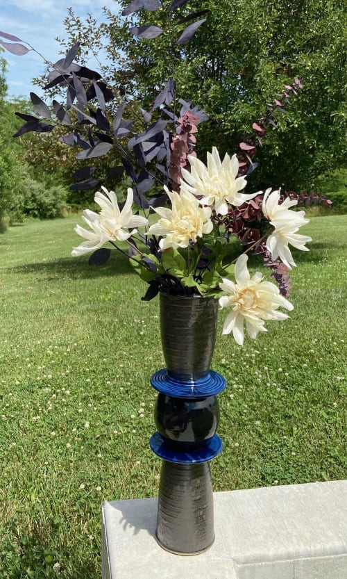 Vases & Vessels by Bad Wolf Pottery seen at Bad Wolf Pottery, Taylorville - Tall Vase w Blue Rings