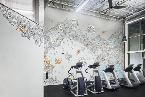 Murals by Sophie Roach seen at Austin Bouldering Project, Austin - Austin Bouldering Project - Gym Mural