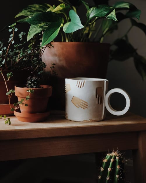 Cups by Sugarhouse Ceramic Co. seen at Private Residence, Portland - Hello Hand Mug