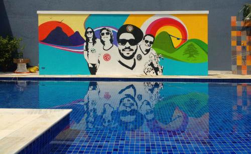Murals by Gustavo Nénão seen at Private Residence, Guarujá - Guarujá Beach House