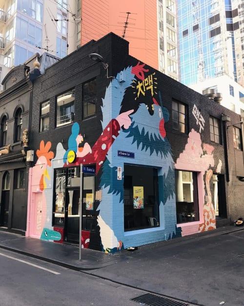 Street Murals by Brolga at Evans Lane, Melbourne - Melbourne Mural