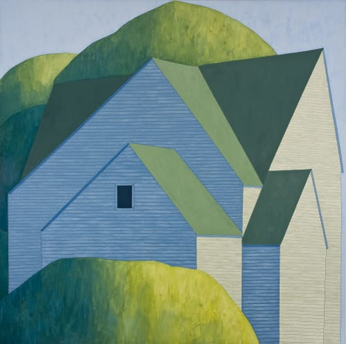 Paintings by Scott Redden seen at Private Residence, New York - 'House in Trees' original oil painting by Scott Redden