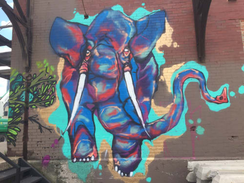 Street Murals by Bunny XLV seen at West Fulton Market, Chicago - Charging Elephant