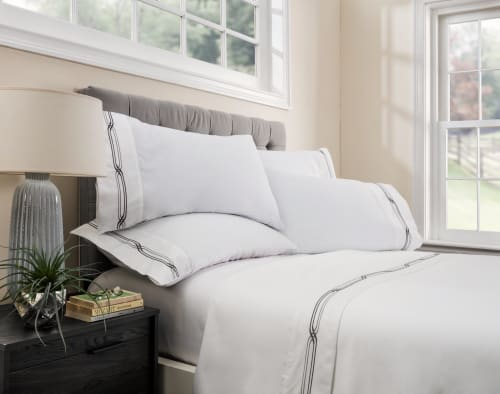 Linens & Bedding by ELEGANT STRAND seen at Private Residence - Boca Raton, FL, Boca Raton - Saint Tropez Embroidered Sheet Set