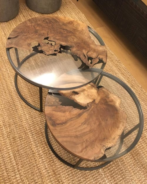 Tables by Sprue Bespoke Furniture seen at Private Residence - Nesting Coffee Tables - Walnut Burl