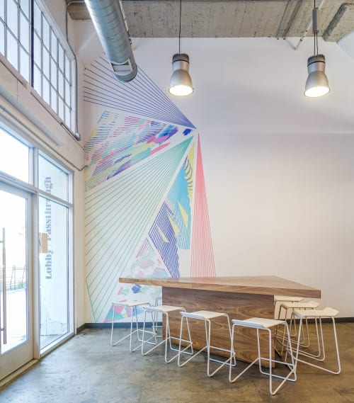 Murals by Caroline Geys seen at ROW DTLA, Los Angeles - Vortex Overlay