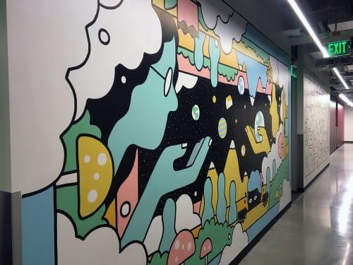 Murals by Sasha Barr Illustration & Design seen at Amazon 9th & Thomas Building, Seattle - Amazon Mural