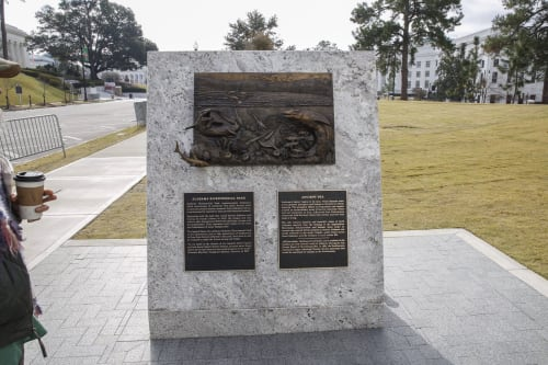 Public Sculptures by Caleb OConnor seen at Alabama Bicentennial Park, Montgomery - Panel 01 – Ancient Sea
