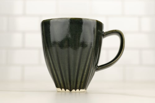 Cups by M.L. Pots seen at Creator's Studio, Borden - Draped Coffee Cup with Glossy Nightfall Grey Glaze - 007