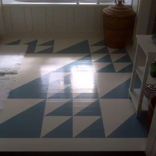 Paintings by Studio 129 seen at Private Residence, East Hampton - Painted Floors