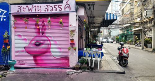 Murals by Kaldea seen at Private Residence, Bangkok - Pink rabbit