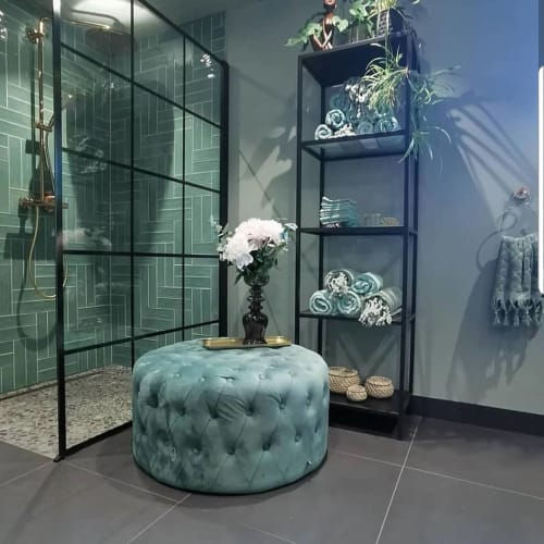 Benches & Ottomans by Cocolea Furniture seen at Private Residence, Melbourne - Tiffany Blue Ottoman