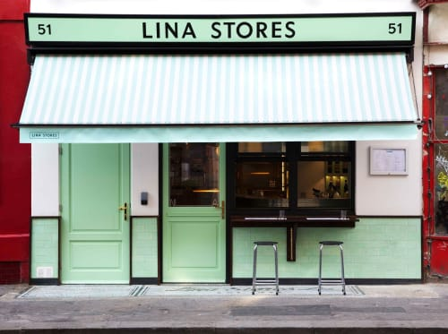 Tiles by Otto Tiles And Design seen at Lina Stores – 51 Greek Street, London - Herringbone Cement Tiles