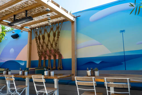 Murals by Maxwell McMaster seen at The Waterfront Venice, Los Angeles - Back Patio Mural