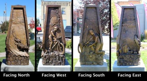 Public Sculptures by Daniel Borup Studio seen at Pocket Park, Ashton - Pillars of Ashton