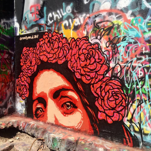 Street Murals by FeeBee Art seen at HOPE Outdoor Gallery, Austin - Rose Crown Mural