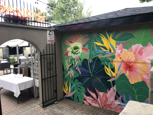 Murals by Koe Design seen at Barangas On The Beach, Hamilton - Exterior Floral Photo Backdrop
