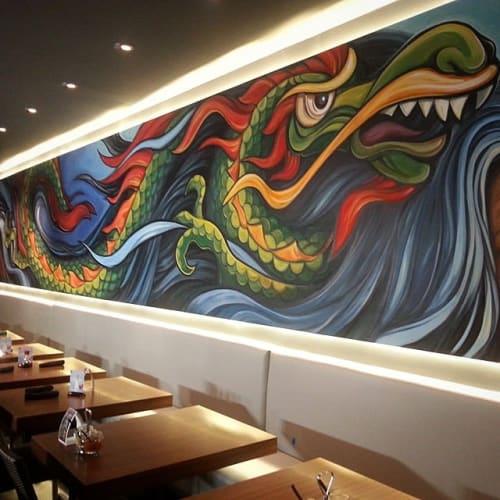 Murals by Marc Noreikas seen at Marietta Square, Marietta - Chinese Dragon mural