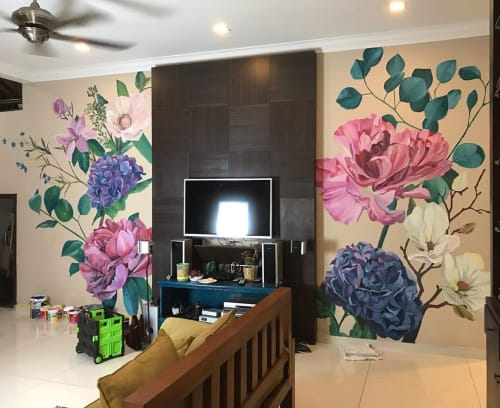 Murals by Yaul Acap seen at Private Residence, Sepang - Floral Mural