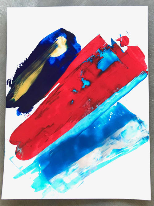 """Paintings by Justin W. Cox seen at Tommy Hilfiger, Xicheng Qu - """"Flag"""" - Abstract interpretations of the Tommy Hilfiger logo"""