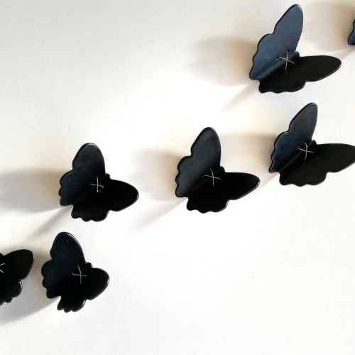 Art & Wall Decor by Elizabeth Prince Ceramics - Set of 10 Butterflies with Metal Wire
