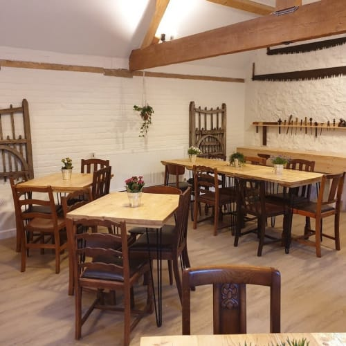 Tables by RAW Workshop seen at Carpenters Canteen, Coleshill - Scaffold board cafe/bistro tables