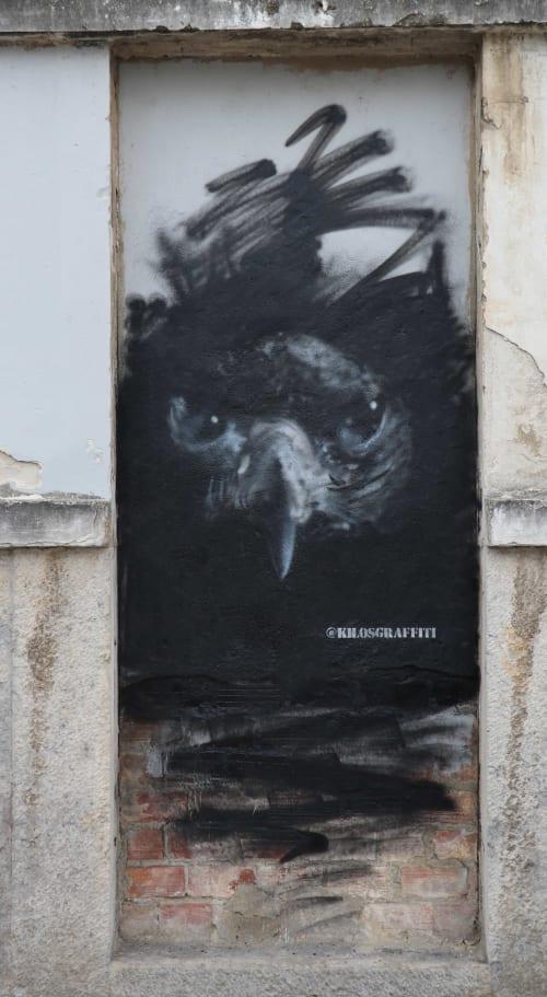 Street Murals by Kilos seen at Rua Doutor João Soares, Lisboa - Raven