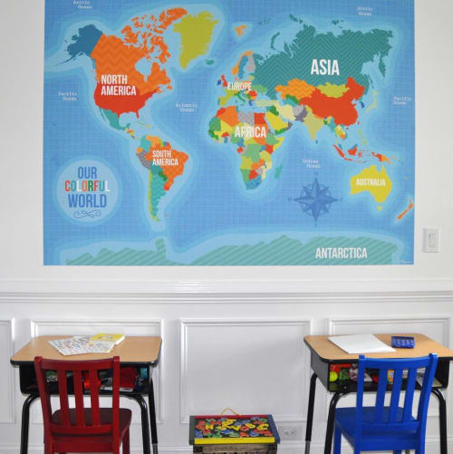 Wall Hangings by Vicky Barone seen at Private Residence, Cary - Fabric World Map