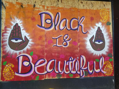 Street Murals by Natalia Virafuentes seen at 6601 S Halsted St, Chicago - Black is Beautiful